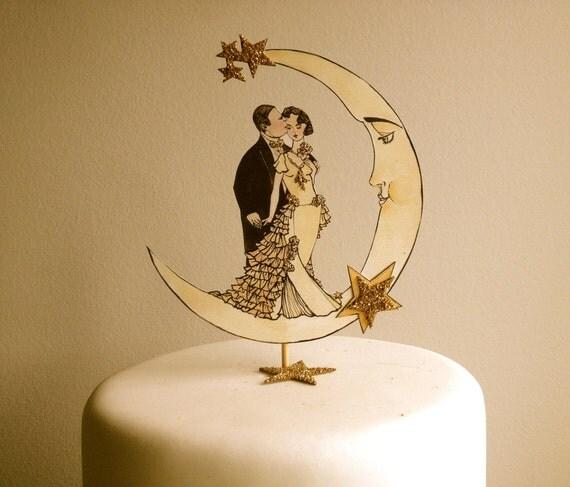 Art Deco Grooms Cake : Art Deco Wedding Cake Topper Deco Moon by JolieEnRoseVintage