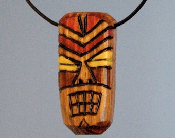 Hand Made Wood Tiki Necklace