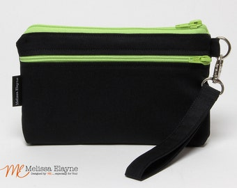 Medium iPhone 6 Wristlet / Samsung Galaxy  Clutch/Wristlet Wallet with Removable Strap, Black Linen