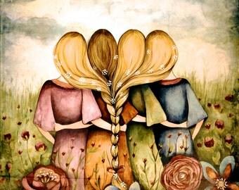 The four sisters best friends brisdemaid present  art print vintage version
