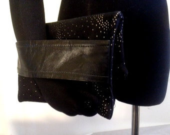 Folded Clutch Gold Dotted Black Felt with a Black Leather Arm Band