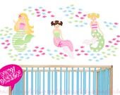 Mermaids Wall Decal - Ocean Fish Decals - Mermaid Bathroom Decor- Set of 3 Mermaids - Summer Beach Decals for Girls - Mermaid Nursery Theme