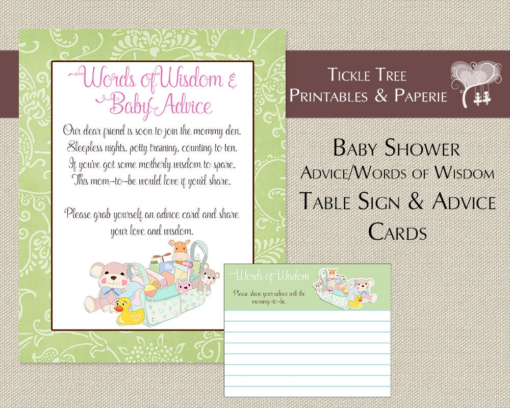 items similar to baby shower words of wisdom advice cards table sign