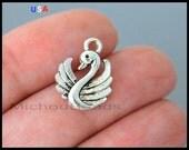 1 Silver SWAN Charm Dangle - 17mm Double Sided Bird Duck Swan Lake beach Pendant Charms - Instant Ship - USA Discount Charms - 6201