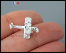 BULK 25 PLANE Charm Dangles - 18mm Silver 3D Airplane Travel Flying Pilot Pendant Charms - Instant Ship - USa Discount Charms - 6148