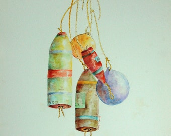 Lobster Sea Floats x 5 Original Watercolor Painting by Tamyra Crossley.
