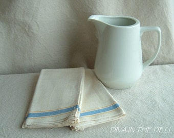 Set of Two Blue and Yellow Striped Vintage Heavy Linen Tea Towels