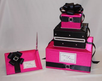 Fuchsia/Black Custom made WeddingCard Box and Guest Book-any colors