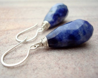 Long Blue Earrings - Dark Blue Drop Earrings - Sodalite Earrings - Navy Blue Earrings - Silver Earrings - Christmas Gift Idea