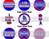 INSTANT DOWNLOAD Dragons Blue Red  School Mascot 1 inch circle Bottlecap Images