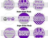 INSTANT DOWNLOAD Panthers  Purple  School Mascot 1 inch Circle Bottlecap Images 4x6 sheet