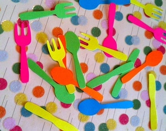 25 sets Fun colorful  hand punched forks, spoons and knives 2 inches tall paper punch, die cuts, confetti