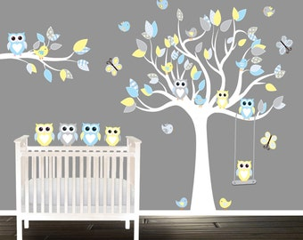 Blue nursery Wall stickers, yellow Nursery Decals, owl wall decal, tree nursery decal,