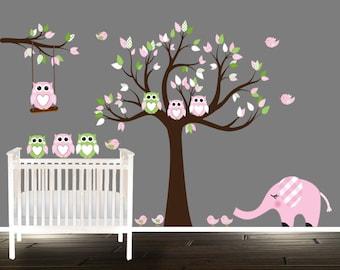Beautiful Spring - Nursery decals - Baby owl wall decals - nursery decal set - baby pink - owl wall decal