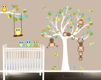 Owl and Tree Decal, Autocollant Arbre, Nursery wall decal Tree, Wall Decal for Nursery