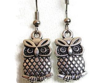 Sale Silver Owl Earrings, Owl Jewelry, Large Owl Earrings, Silver Earrings Antiqued Silver Owl Charm Earrings,Black Friday Sale