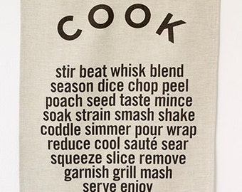 Linen Tea Towel - COOK - Noir On Oatmeal