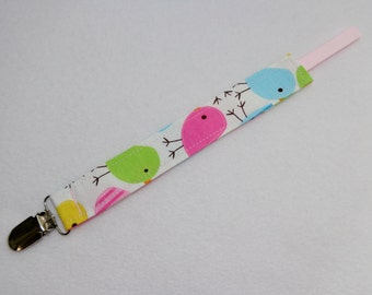 Pink Bird print Pacifier Clip. Universal Loop. Ready to Ship