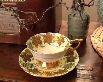 Antique Royal Stafford Teacup and Saucer La Vigne D'Or Green Gold Relief Late 1940s