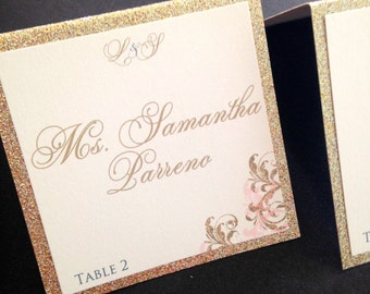 Wedding Escort Cards - Gold Glitter Wedding Place Cards - Escort Cards for Wedding Reception