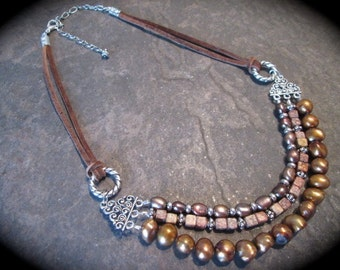 Leather and Pearl necklace with lustrous copper and bronze pearls and Jasper gemstone beads Brown suede leather cord multi strand necklace