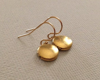 Locket Earrings in Gold Fill and Brass -Tiny Locket Earrings -Tiny Gold Earrings