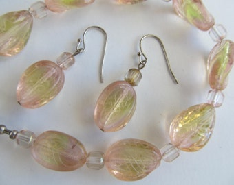 Lovely Peachy Glass Beaded Bracelet and Matching Earrings.