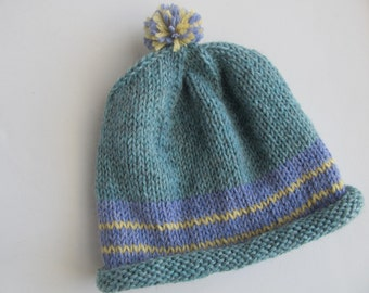 Handknit Wool Hat For Older Child or Adult, One of a Kind, Ready to Ship.