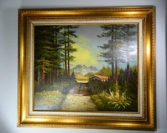 Vintage Original Oil Painting, Cabin Scene Painting Mountain Evergreens Painting Gilt Framed Signed Art