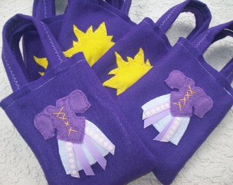 RAPUNZEL PARTY/ Tangled/Felt party bags/ Set of 12 party favors/ drees and sun