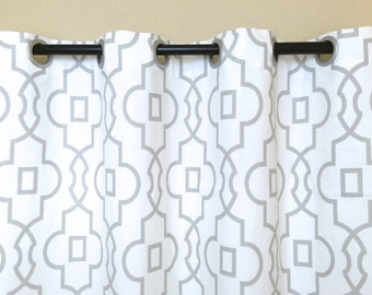 French Grey Bordeaux Trellis Curtain Panels. Grommet Rings. Window Drapes. Geometric Curtains