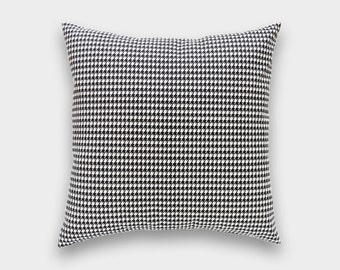CLEARANCE 50% OFF Black Houndstooth Decorative Pillow Cover. 16X16 Inches. Small Houndstooth Throw Pillow Cover.