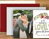 Happy New Years Card, Happy Holidays, Boho Holiday Card, Photo Card