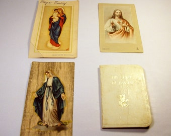 Vintage Religious Cards Lot of 4 / Sacred Heart / Holy Mother Mary Standing on Snake / Story of Easter Book / Holland / Italy