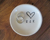 Engagement Gift, ring dish, wedding ring holder, handmade earthenware pottery, Made to order