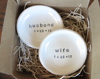 ring dish, wedding ring holder, Husband and Wife,  Custom Mr and Mrs Gift Set, Black and White,  Made to Order