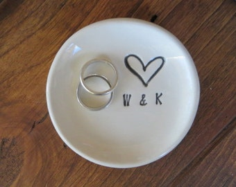MR and MRS ring dish, wedding ring holder, engagement gift, Personalized dish, handmade earthenware pottery, Gift Boxed, Made to order