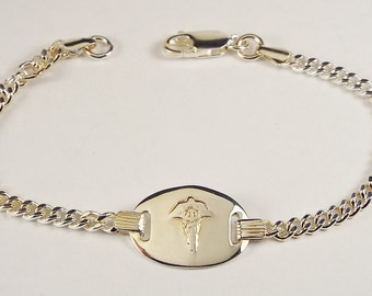 Custom Engraved Medic Alert Bracelet Personalized Petite Sterling Silver 8 to 8.5 Inch Length - Hand Engraved