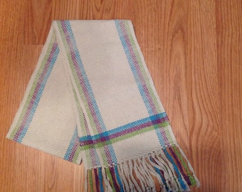 Handwoven Scarf ~ Cream/blue/purple/green