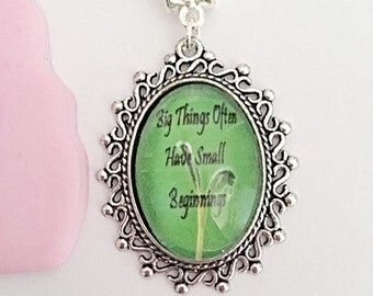 Big Things Often Have Small Beginnings - Quote Necklace - Quote Jewelry - Positive Necklace - Positive Jewelry - Gift For Her