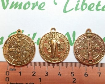 4 pcs per pack 24mm 2.5mm thickness Reversible San Benito Coin Charm Antique Gold Lead free Pewter