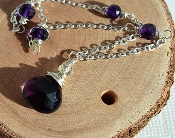 Amethyst Necklace, Royal Purple Necklace, Purple Gemstone Necklace, Beaded Chain Necklace, Sterling Necklace February Birthstone Dark Purple