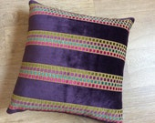 BLOCK PURPLE STRIPE velvet cushion cover with small square design in Pink Teal Purple Olive. Velvet Square Cushion Cover / Pillow Sham