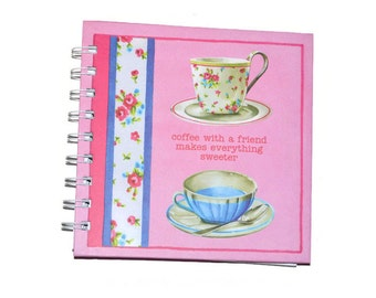 Pink Blank Journals Set of Three 5x5 Pink Tea Cups Friendship Journals