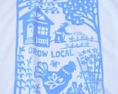 Flour Sack Dish Towel - Grow Local, Sky Blue or Squash