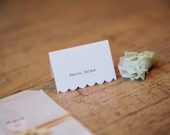 Typewriter Scalloped Place Cards