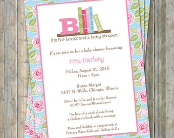 Book Baby Shower Invitation with flowers, in lieu of a card please bring a children's book with a message, digital file