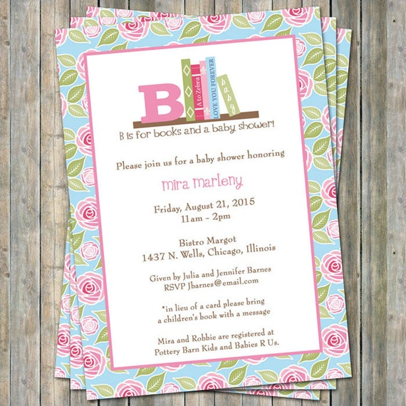 In Lieu Of A Card Bring A Book Baby Shower Part - 40: Book Baby Shower Invitation With Flowers, In Lieu Of A Card Please Bring A  Childrenu0027s Book With A Message, Digital File