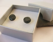 Ceramic Pottery Small Stud Earrings, Post Earrings, Black Earrings, Black Jewellery, Everyday Earrings