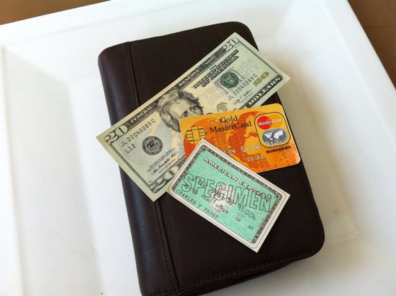leather business portfolio daytimer planner vintage wallet
